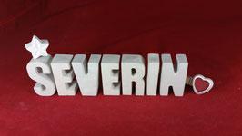 Beton, Steinguss Buchstaben 3D Deko Namen SEVERIN als Geschenk verpackt!