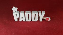 Beton, Steinguss Buchstaben 3D Deko Namen PADDY als Geschenk verpackt!