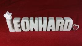 Beton, Steinguss Buchstaben 3D Deko Namen LEONHARD als Geschenk verpackt!