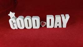 Beton, Steinguss Buchstaben 3D Deko Stern Namen GOOD DAY als Geschenk verpackt!