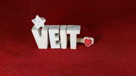 Beton, Steinguss Buchstaben 3D Deko Namen VEIT als Geschenk verpackt!