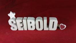 Beton, Steinguss Buchstaben 3D Deko Namen SEIBOLD als Geschenk verpackt!