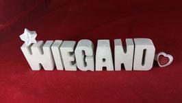 Beton, Steinguss Buchstaben 3D Deko Namen WIEGAND als Geschenk verpackt!