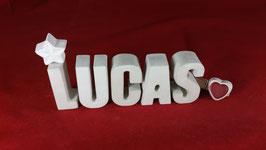 Beton, Steinguss Buchstaben 3D Deko Namen LUCAS als Geschenk verpackt!
