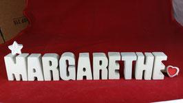 Beton, Steinguss Buchstaben 3D Deko Namen MARGARETHE als Geschenk verpackt mit Stern und Herzklammer!