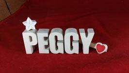 Beton, Steinguss Buchstaben 3D Deko Namen PEGGY als Geschenk verpackt mit Stern und Herzklammer!