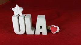 Beton, Steinguss Buchstaben 3D Deko Namen ULA als Geschenk verpackt mit Stern und Herzklammer!