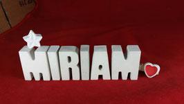 Beton, Steinguss Buchstaben 3D Deko Namen MIRIAM als Geschenk verpackt mit Stern und Herzklammer!