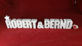 Beton, Steinguss Buchstaben 3D Deko Stern Namen ROBERT & BERND als Geschenk verpackt!
