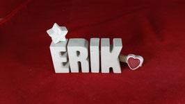 Beton, Steinguss Buchstaben 3D Deko Namen ERIK als Geschenk verpackt!