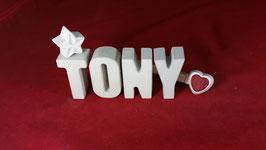 Beton, Steinguss Buchstaben 3D Deko Namen TONY als Geschenk verpackt!