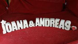 Beton, Steinguss Buchstaben 3D Deko Stern Namen JOANA & ANDREAS als Geschenk verpackt!