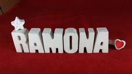 Beton, Steinguss Buchstaben 3D Deko Namen RAMONA als Geschenk verpackt mit Stern und Herzklammer!