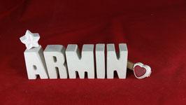 Beton, Steinguss Buchstaben 3D Deko Namen ARMIN als Geschenk verpackt!