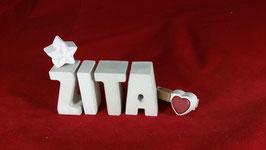 Beton, Steinguss Buchstaben 3D Deko Namen ZITA als Geschenk verpackt mit Stern und Herzklammer!
