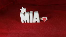 Beton, Steinguss Buchstaben 3D Deko Namen MIA als Geschenk verpackt mit Stern und Herzklammer!
