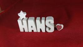 Beton, Steinguss Buchstaben 3D Deko Namen HANS als Geschenk verpackt!