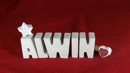 Beton, Steinguss Buchstaben 3D Deko Namen ALWIN als Geschenk verpackt!