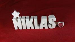 Beton, Steinguss Buchstaben 3D Deko Namen NIKLAS als Geschenk verpackt!