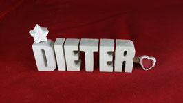 Beton, Steinguss Buchstaben 3D Deko Namen DIETER als Geschenk verpackt!