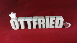 Beton, Steinguss Buchstaben 3D Deko Namen OTTFRIED als Geschenk verpackt!