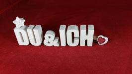 Beton, Steinguss Buchstaben 3D Deko Stern Namen DU & ICH als Geschenk verpackt!