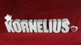 Beton, Steinguss Buchstaben 3D Deko Namen KORNELIUS als Geschenk verpackt!