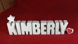 Beton, Steinguss Buchstaben 3D Deko Namen KIMBERLY als Geschenk verpackt mit Stern und Herzklammer!