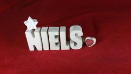 Beton, Steinguss Buchstaben 3D Deko Namen NIELS als Geschenk verpackt!