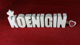 Beton, Steinguss Buchstaben 3D Deko Stern Namen KOENIGIN als Geschenk verpackt!