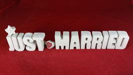Beton, Steinguss Buchstaben 3D Deko Stern Namen JUST MARRIED als Geschenk verpackt!