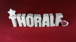 Beton, Steinguss Buchstaben 3D Deko Namen THORALF als Geschenk verpackt!
