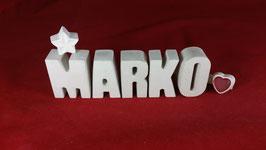 Beton, Steinguss Buchstaben 3D Deko Namen MARKO als Geschenk verpackt!