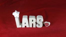 Beton, Steinguss Buchstaben 3D Deko Namen LARS als Geschenk verpackt!