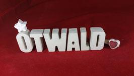Beton, Steinguss Buchstaben 3D Deko Namen OTWALD als Geschenk verpackt!