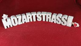 Beton, Steinguss Buchstaben 3D Deko Stern Schriftzug MOZARTSTRASSE als Geschenk verpackt!