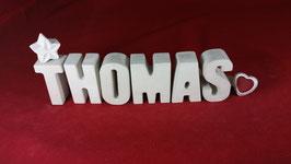 Beton, Steinguss Buchstaben 3D Deko Namen THOMAS als Geschenk verpackt!