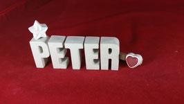 Beton, Steinguss Buchstaben 3D Deko Namen PETER als Geschenk verpackt!