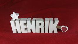 Beton, Steinguss Buchstaben 3D Deko Namen HENRIK als Geschenk verpackt!