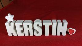 Beton, Steinguss Buchstaben 3D Deko Namen KERSTIN als Geschenk verpackt mit Stern und Herzklammer!
