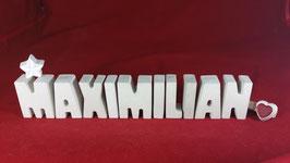 Beton, Steinguss Buchstaben 3D Deko Namen MAXIMILIAN als Geschenk verpackt!