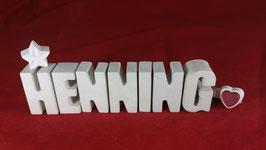 Beton, Steinguss Buchstaben 3D Deko Namen HENNING als Geschenk verpackt!