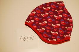 58 Helmmütze mit Fleecefutter, Vögel in rosa- und pinktönen