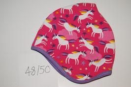59 Helmmütze mit Fleecefutter, Einhörner auf Pink