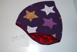 38 Helmmütze, Glitzersterne auf Violett