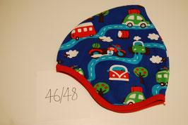52 Helmmütze mit Fleecefutter, Strassenverkehr auf Königsblau
