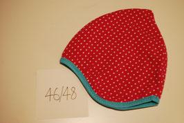 50 Helmmütze mit Fleecefutter, feine Punkte auf Pink
