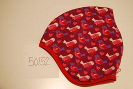 65 Helmmütze mit Fleecefutter, Vögel auf pink