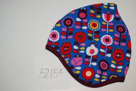 73 Helmmütze mit Fleecefutter, Scandiflowers auf Königsblau