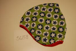 82 Helmmütze mit Fleecefutter, Stars Petrol auf Hellgrün